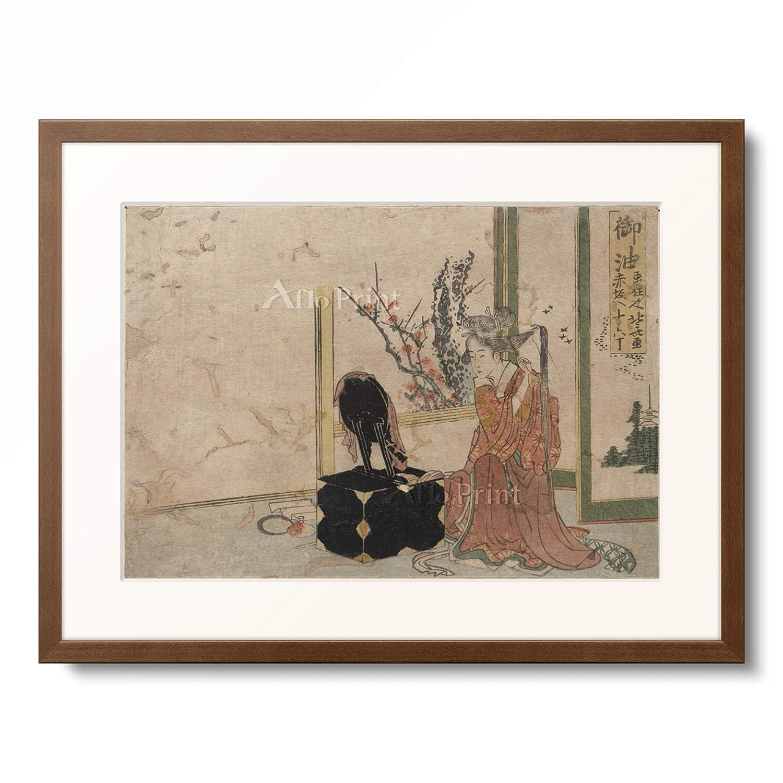 葛飾北斎 Katsushika Hokusai 「東海道五十三次 御油」 額装アート作品 XL(額内寸 727mm×545mm) 11.木製額 13mm(茶) B07PTZF6GZ