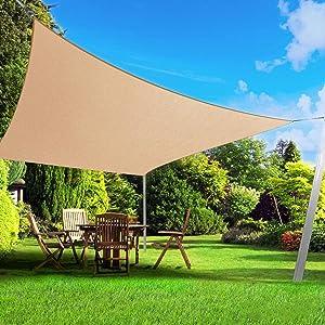 BELLE DURA Sun Shade Sail Canopy for Patio,Lawn,Garden, Backyard,Pool,Deck,Yard,Park,Carport,Outdoor 5Years Warranty (Rectangle-10'X13', Sand)
