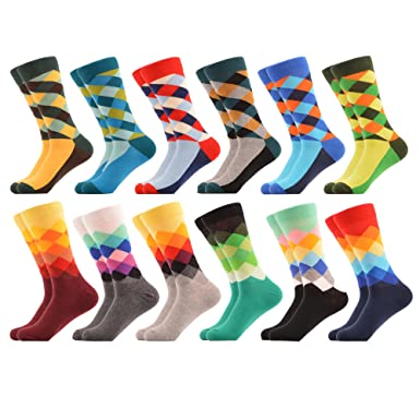be35dd6775bb WeciBor Men's Dress Colorful Argyle Funny Novelty Combed Cotton Crew Socks  12 Packs