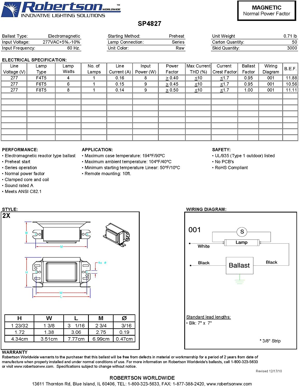 Preheat Start NPF Normal Ballast Factor 277Vac ROBERTSON 3P10075 SP4827 AM Fluorescent mBallast for 1 F4T5 60Hz F6T5 or F8T5 Linear Lamp