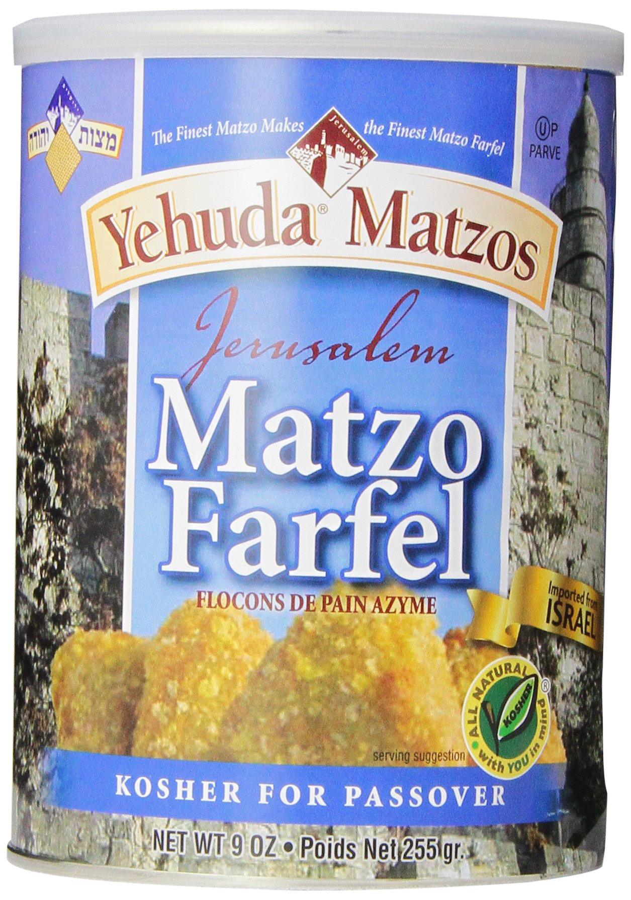 Yehuda Matzo Cannister, Farfel, 9-Ounce (Pack of 6)