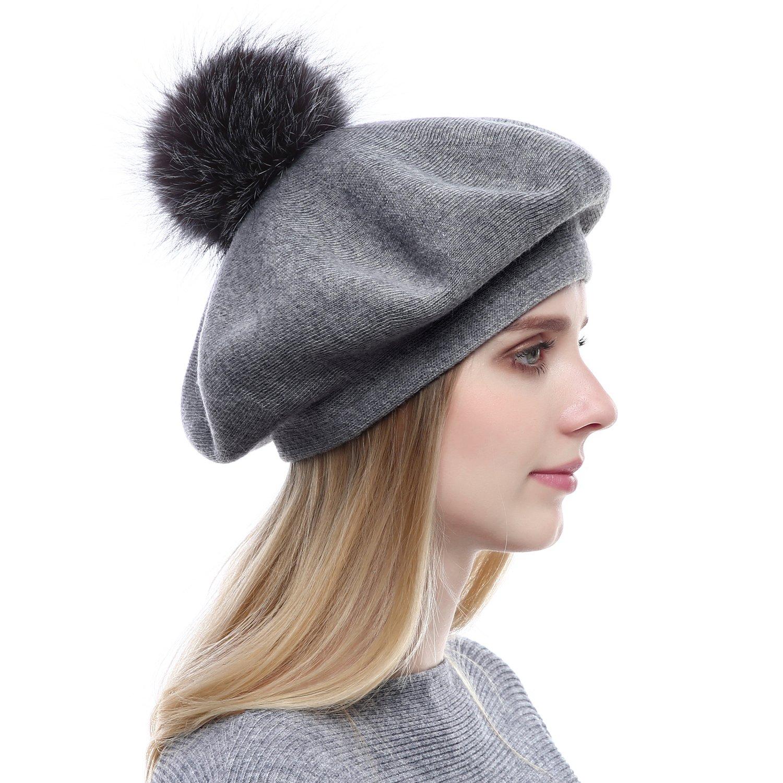 Women Wool Beret Real Silver Fox Fur Pom Pom Beanies Winter Knit Cashmere Hats One Size QFHR1706DG