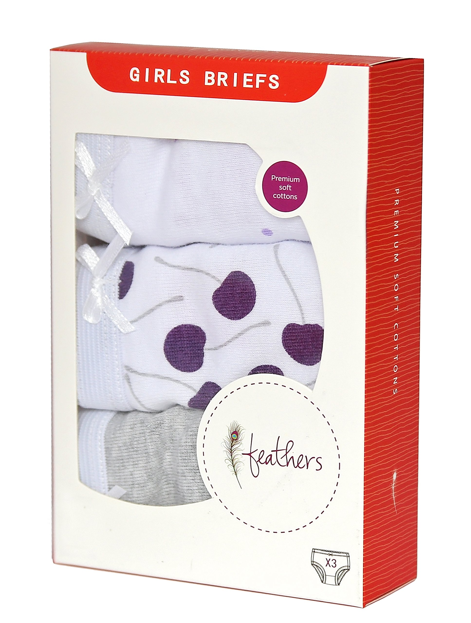 Feathers Girls Cherry print Tagless Briefs Underwear Super Soft Panties 3-Pack Cherry Print 10