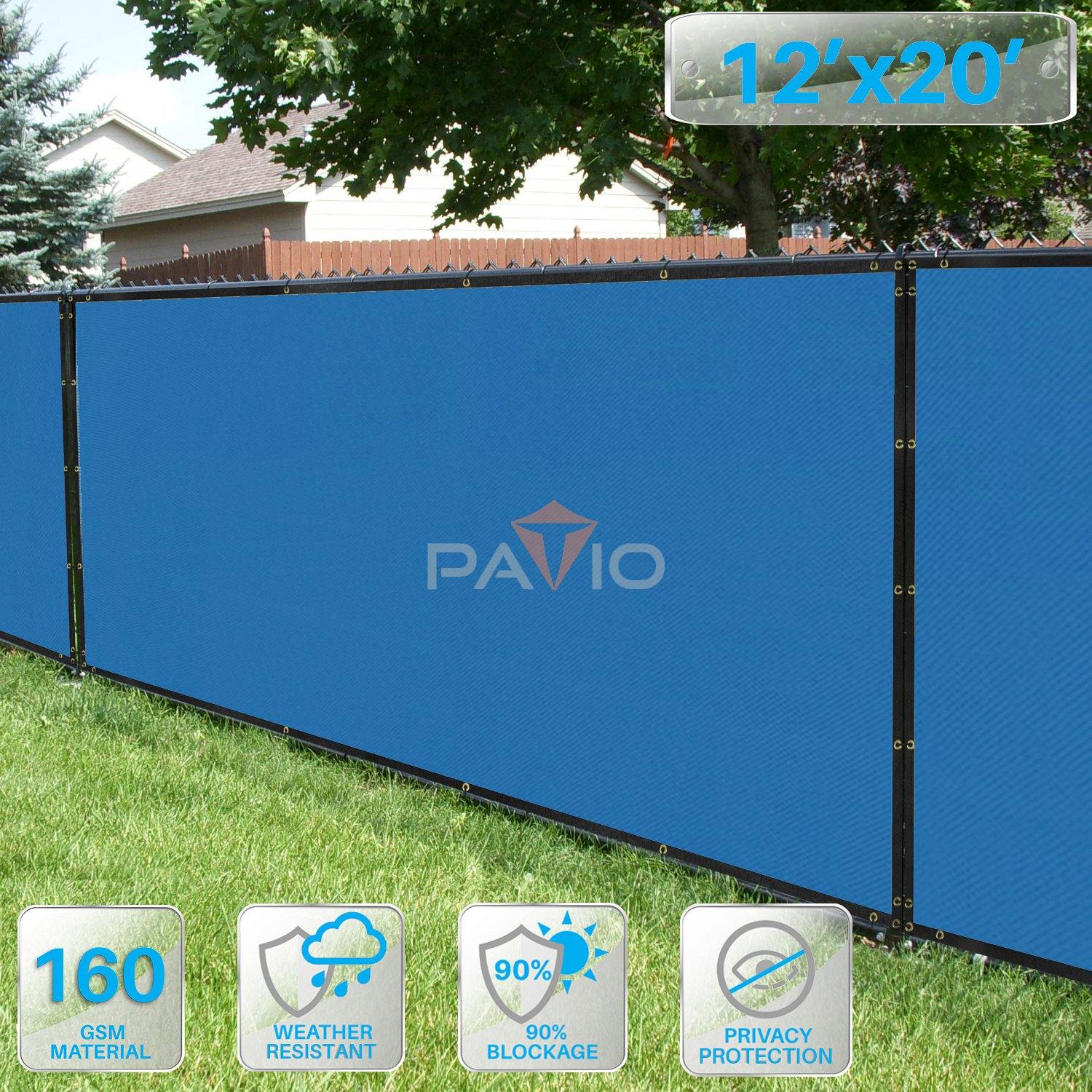 Patio Fence Privacy Screen 12' x 20', Pergola Shade Cover Canopy Sun Block, Heavy Duty Fence Privacy Netting, Commercial Grade Privacy Fencing, 180 GSM, 90% Privacy Blockage (Blue)