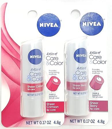 NIVEA Lip Care A Kiss of Care & Color, Crimson 0.17 oz (Pack of 6) 3 Pack - Biotherm Homme Total Recharge Non-Stop Moisturizer 1.69 oz