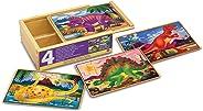 Melissa & Doug Rompecabezas de Dinosaurios, 4 Rompecabezas con Caja de Almacenamiento, Juguete de Madera (12 Piezas)