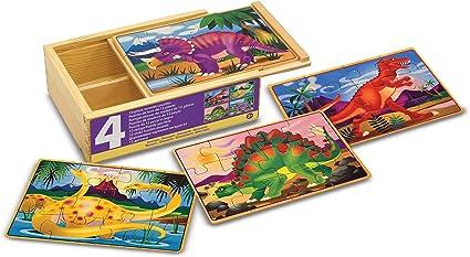 Four Wooden Puzzles 12 Pieces 20.32 cm H x 15.24 cm W x 6.35 cm L Melissa /& Doug Dinosaur Jigsaw Puzzles in a Box Beautiful Artwork Sturdy Wooden Storage Box