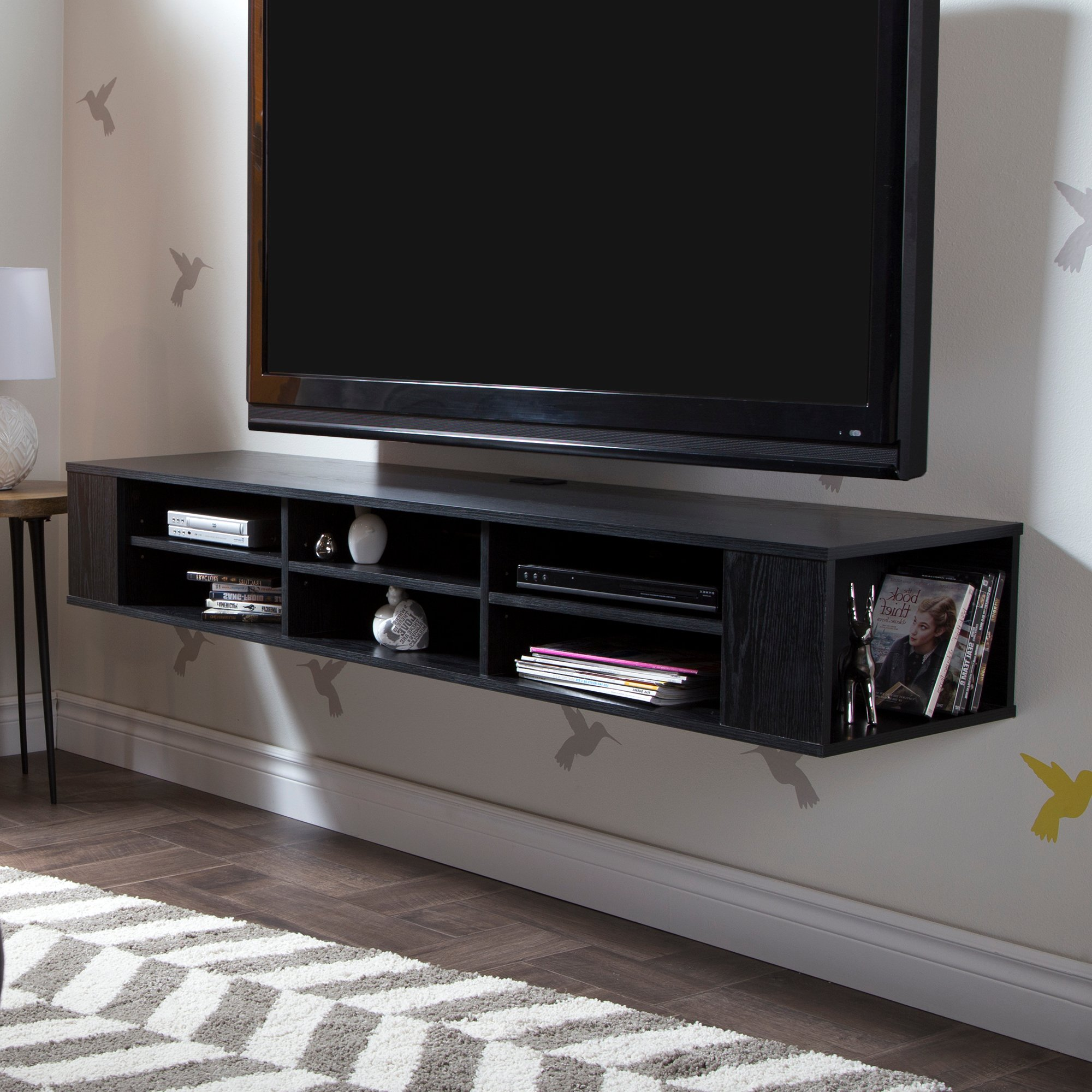 "City Life Wall Mounted Media Console - 66"" Wide - Extra Storage - Black Oak - By South Shore"