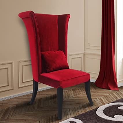 Beau Armen Living LC847SIRE Mad Hatter Dining Chair In Red Velvet And Black Wood  Finish