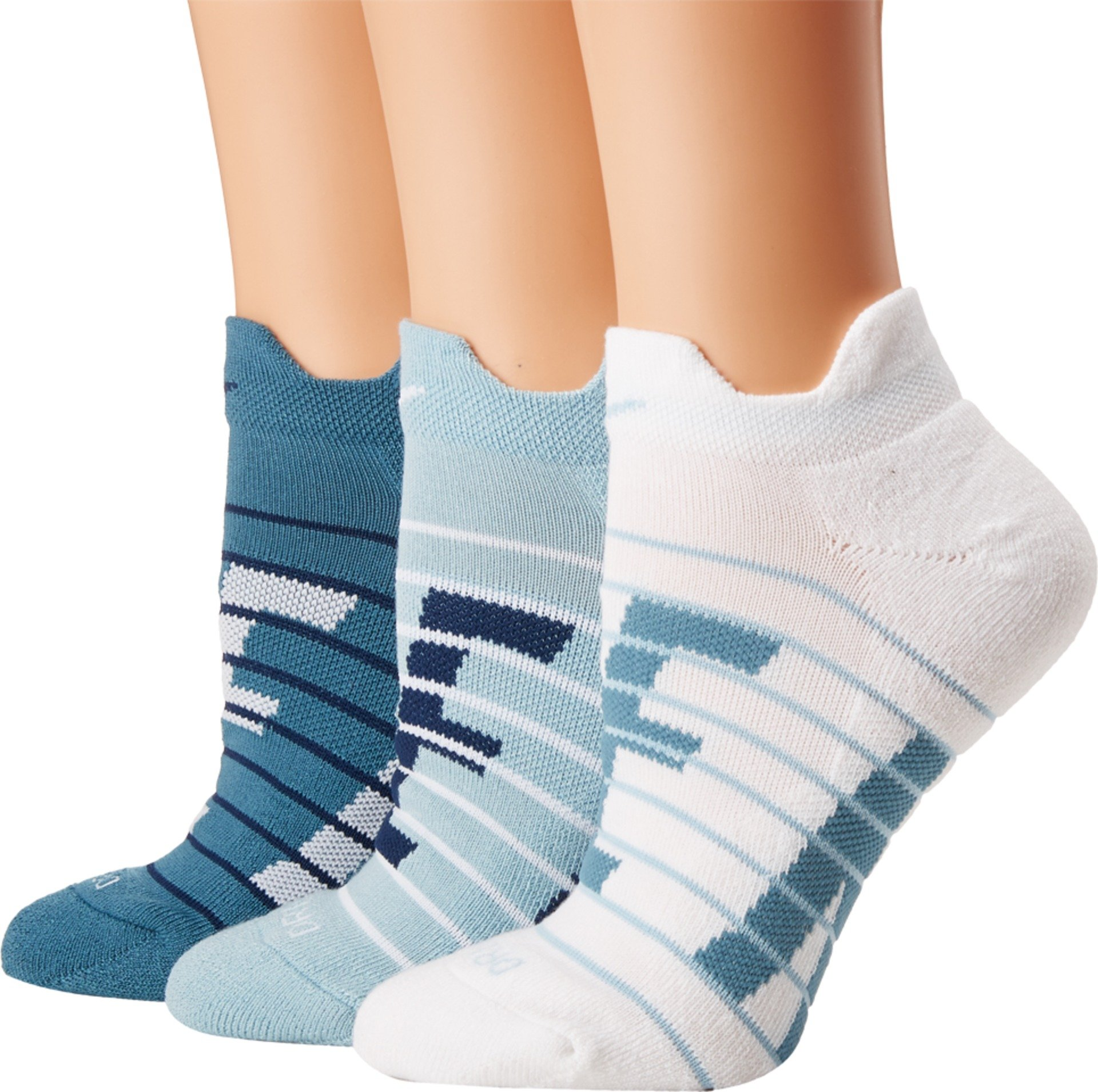 Nike Women's Dry Cushioned Low Training Socks 3-Pack (Multicolor BLUE) by Nike