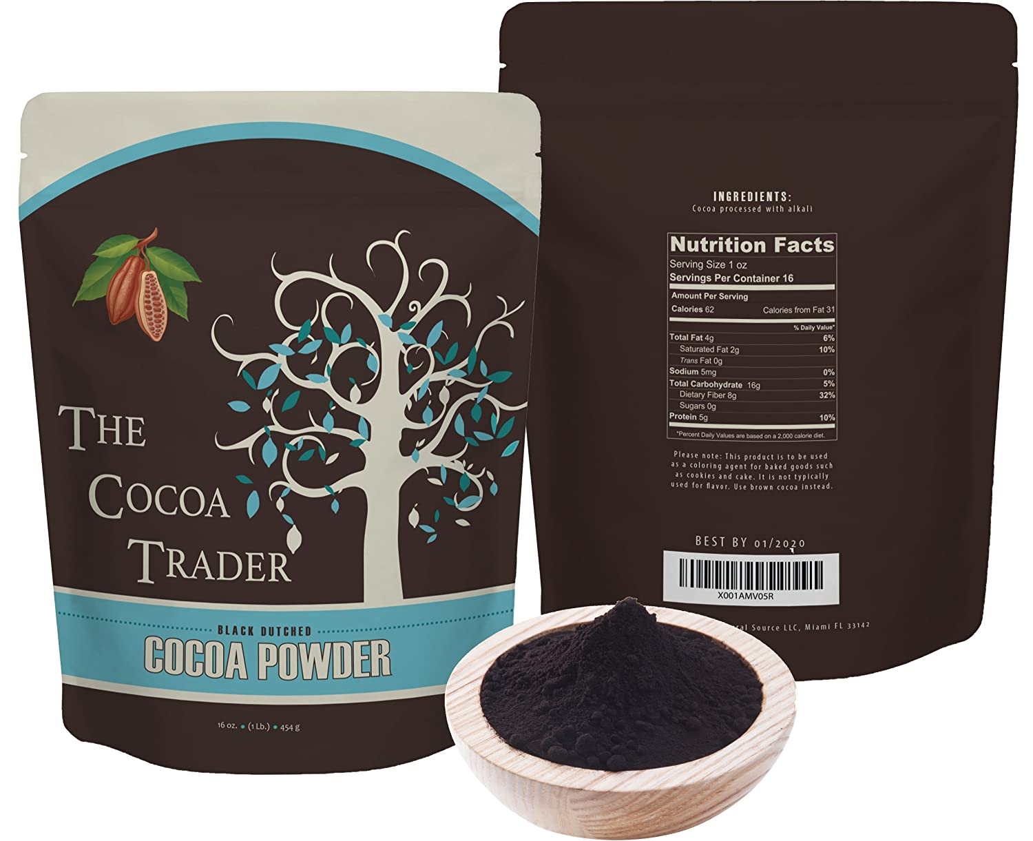 Black Cocoa Powder for Baking- All Natural Alkalized Unsweetened Cocoa for Coloring Agent in Baked Goods - Dutch Processed With Smooth Mellow Flavor - 1 LB, The Cocoa Trader