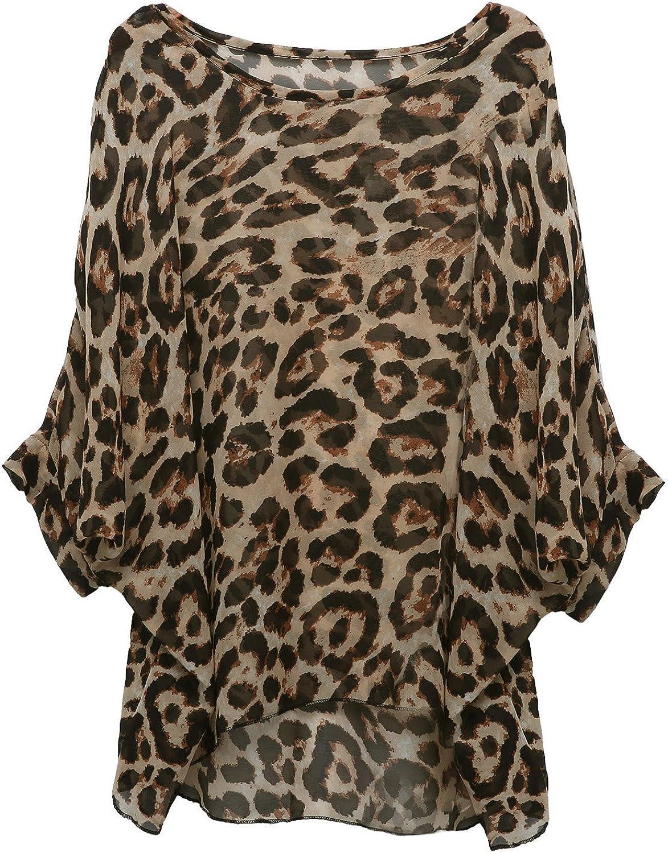Rokou Women Chiffon Blouse Floral Batwing Sleeve Beach Loose Tunic Shirt Tops