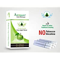 Aarogyam Herbal Cigarettes Green Apple flavor for Smokers 100% Tobacco Nicotine-Free Herbal Cigarette for Relieve Stress (Green Apple Flavour)