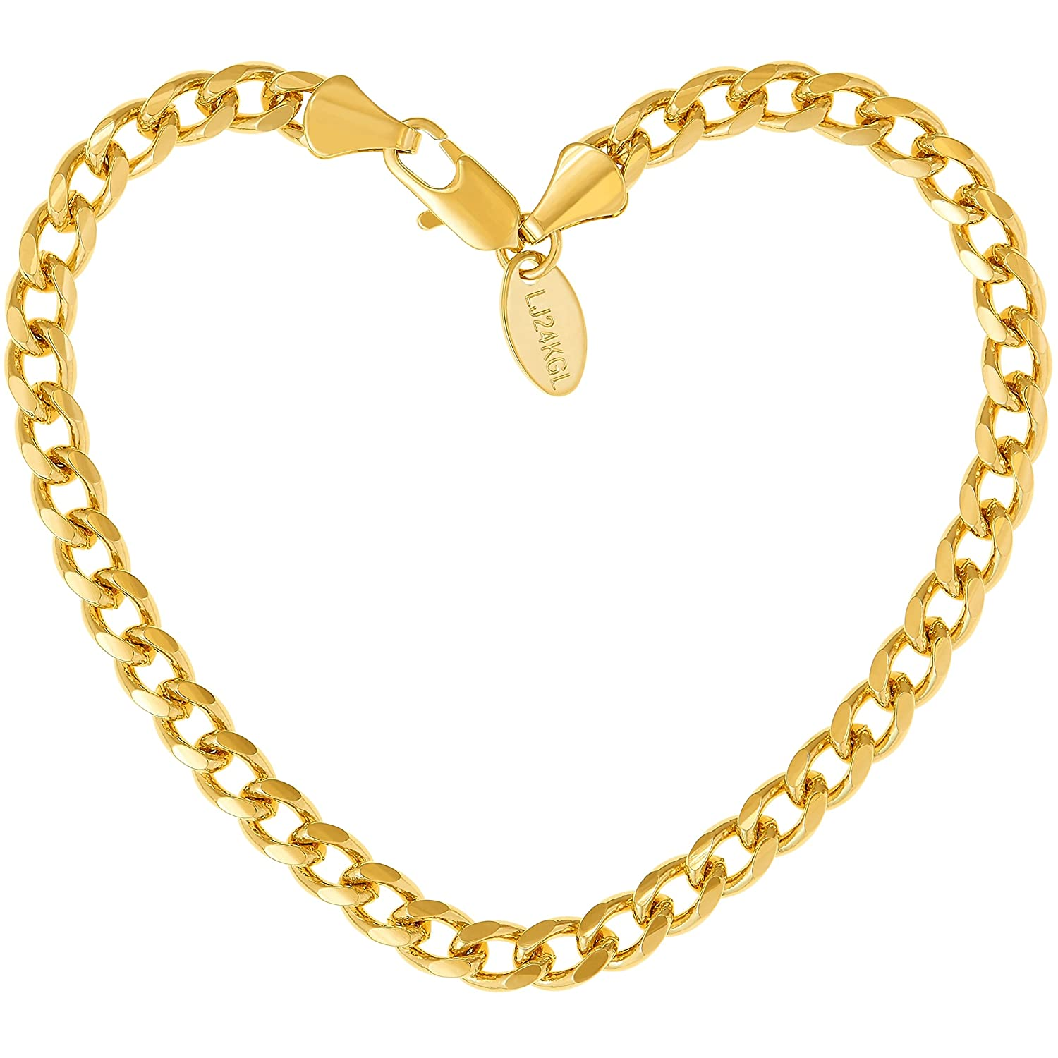 Lifetime Jewelry Cuban Link Bracelet 5MM, Round, 24K Gold with Inlaid Bronze, Premium Fashion Jewelry, Designed to Resist Tarnishing, 7-9 Inches 8 Inches Lifetime Products Group