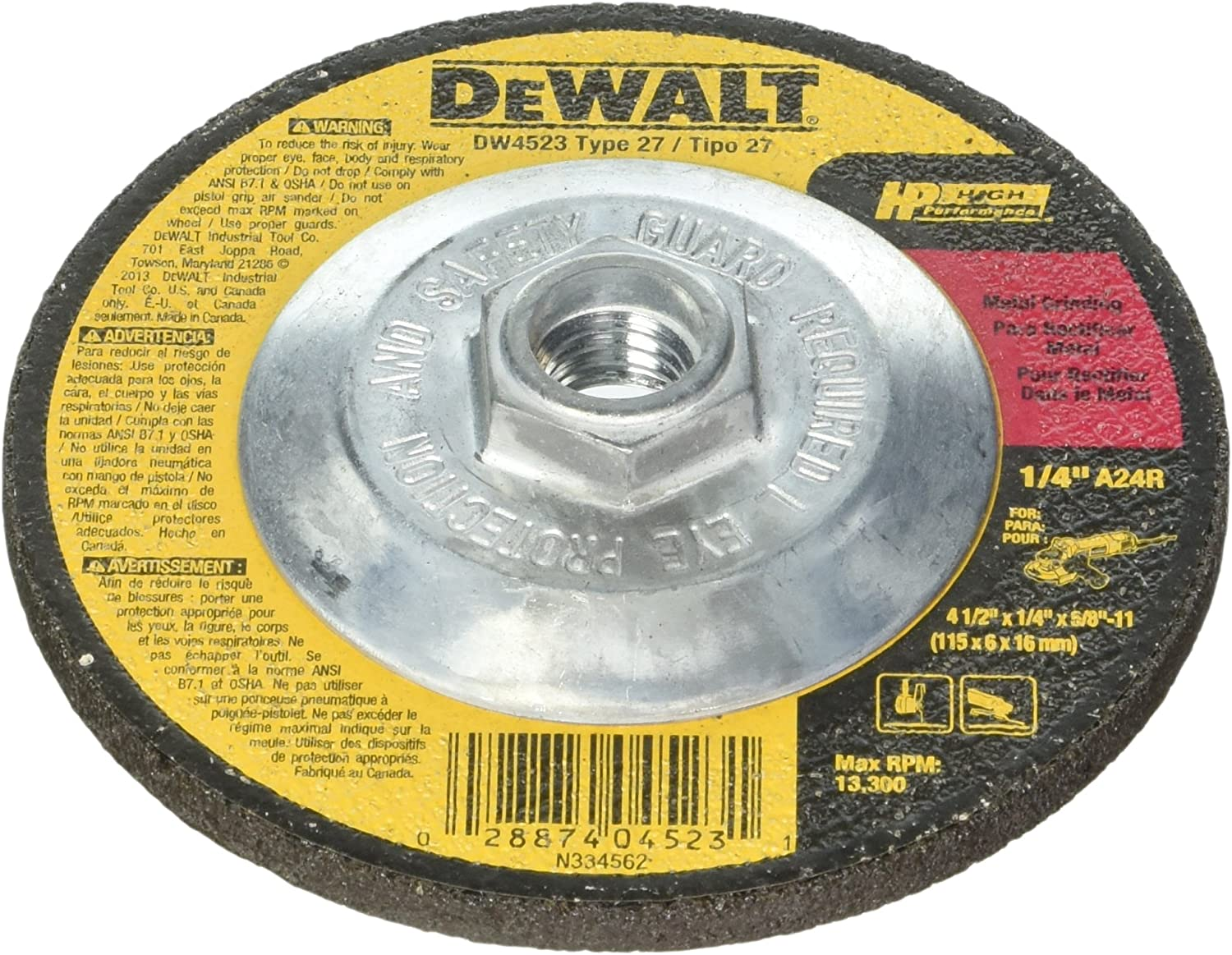 "DEWALT DW4999 7/"" x 1//4/"" x 5//8/""-11 General Purpose Metal Grinding Wheel 2 PK"