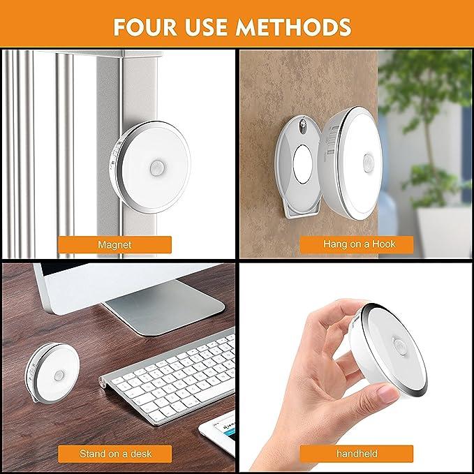 JIEMEI Sensor de Movimiento Armario Luz de Escalera Luces de paso, 2 Pack Luz de Noche LED recargable con imán, luces de pared inalámbricas para pasillo, ...