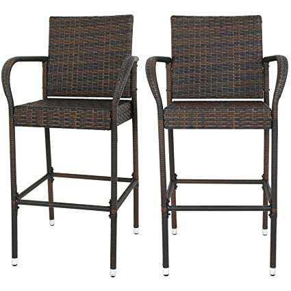 Fabulous F2C Pack Of 2 Brown Wicker Barstool All Weather Dining Chairs Outdoor Patio Furniture Bar Stools Home Interior And Landscaping Ologienasavecom