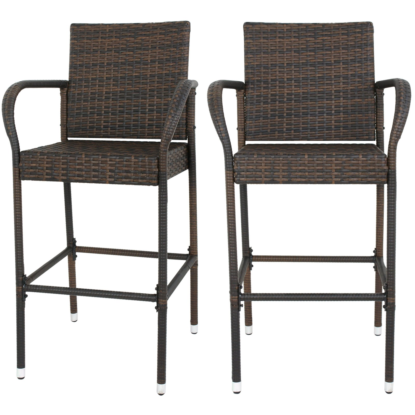 F2C Pack of 2 Brown Wicker Barstool All Weather Dining Chairs Outdoor Patio Furniture Bar Stools