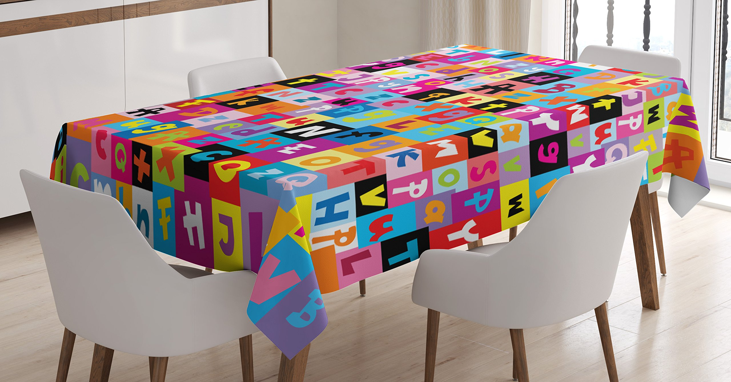 Abstract Tablecloth by Ambesonne, Colored Alphabet Letters Pattern Education School Puzzle Children Graphic Print, Dining Room Kitchen Rectangular Table Cover, 52 W X 70 L Inches, Multicolor
