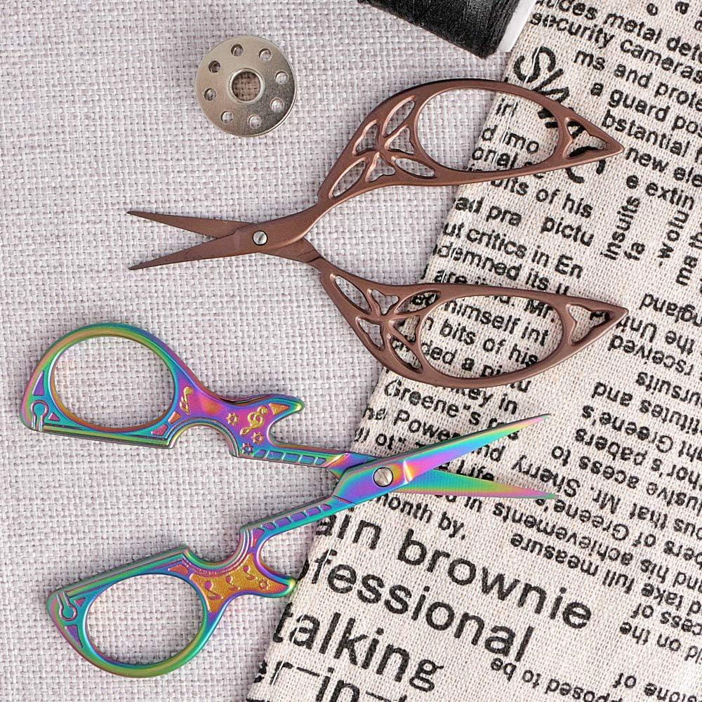 Vintage Schneiderschere aus Edelstahl 2er Pack Basteln Stickschere Heimwerk Kunstwerke Scharfe Stoffschere f/ür Stickerei