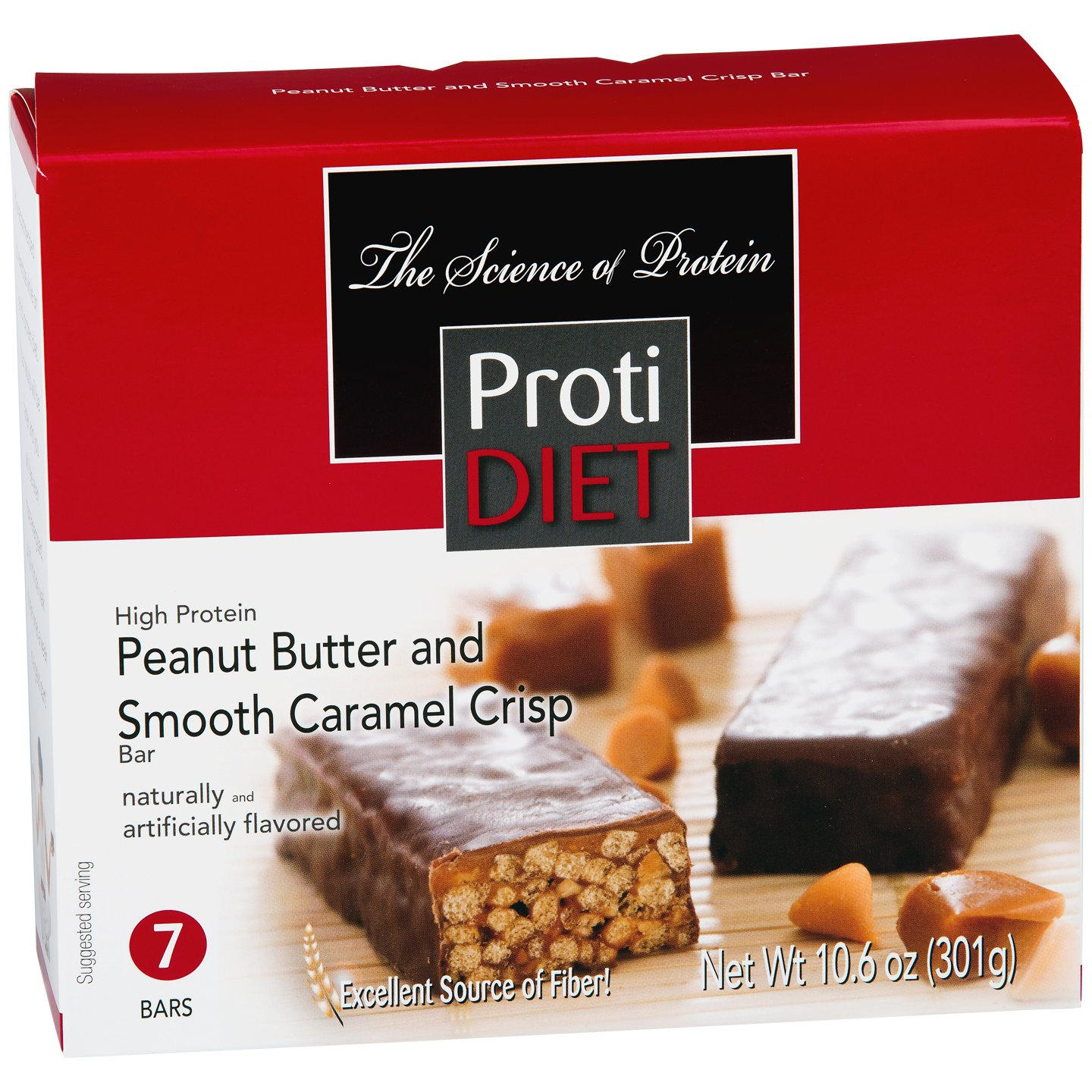 Protidiet Peanut Butter and Smooth Caramel Crisp High Protein Bars (Box of 7) Net Wt 10.6oz