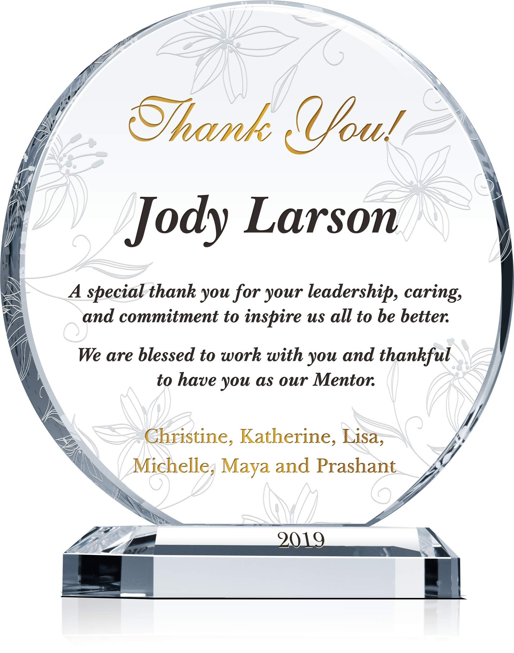 Personalized Crystal Appreciation Gift Plaque for Mentor, Manager, Supervisor, Leader, Customized with Mentor Name, Unique Thank You Gift to Boss on Christmas, Birthday, Departing (XL - 10'') by Crystal Central