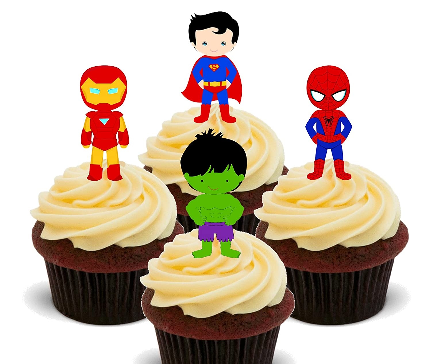 Superhero Mix - Edible Cupcake Toppers - Stand-up Wafer Cake ...