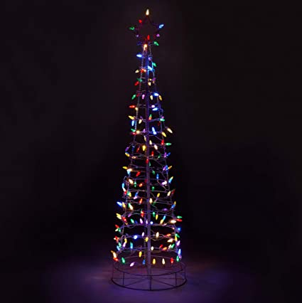 Outdoor Christmas Tree With Lights.Aurio Au 3ct6 Ms 6ft 3d Cone Outdoor Christmas Tree With White Frame 300 Lights Multi Color