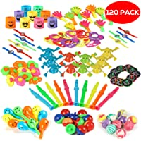 120 Pieces Party Favors Toy Assortment, Birthday Loot Goody Bag Favours - for Kids Classroom Rewards or Prizes, School Supplies Carnival Games, Treasure Chest Box Toys and Pinata Filler Stuffers