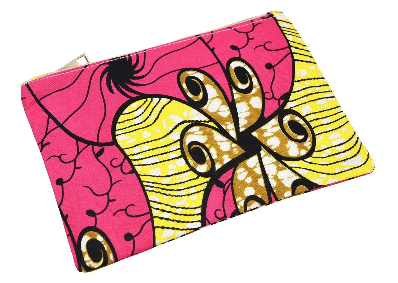 Oh My Shop ATM40 - Trousse Maquillage Pochette Tissu Wax Africain Rose Imprimé Fleur Motifs OMS-ATM40