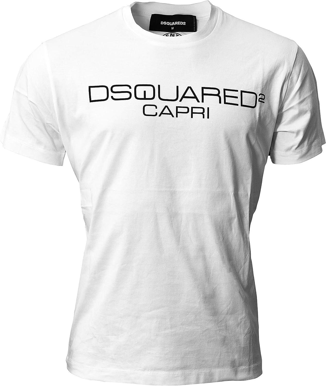 DSQUARED2 D2 Capri Camiseta de Hombre, Blanco, Talla L, Cuello Redondo, Manga Corta: Amazon.es: Ropa y accesorios