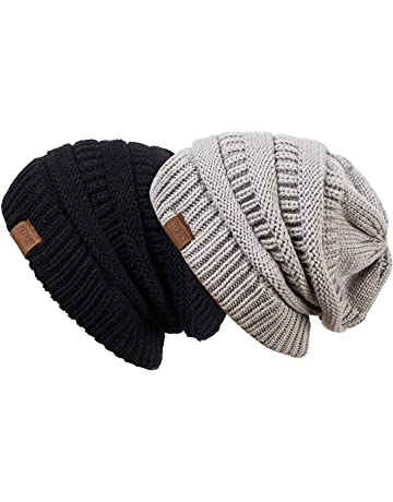 5531ab6d34dd5 REDESS Slouchy Beanie Hat Men Women 2 Pack Winter Warm Chunky Soft  Oversized Cable Knit Cap