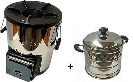 NJ-COMMERCE LTD Silverfire - Cocina portátil para acampada con estufa tipo cohete de madera