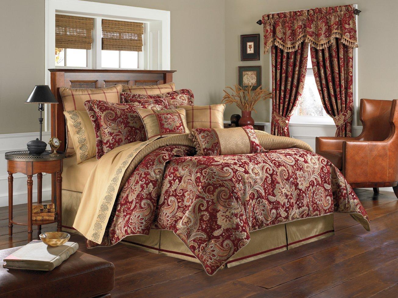 Ribbon embroidery bedspread designs - Amazon Com Croscill Home Fashions Mystique 4 Piece Comforter Set Queen Claret Home Kitchen