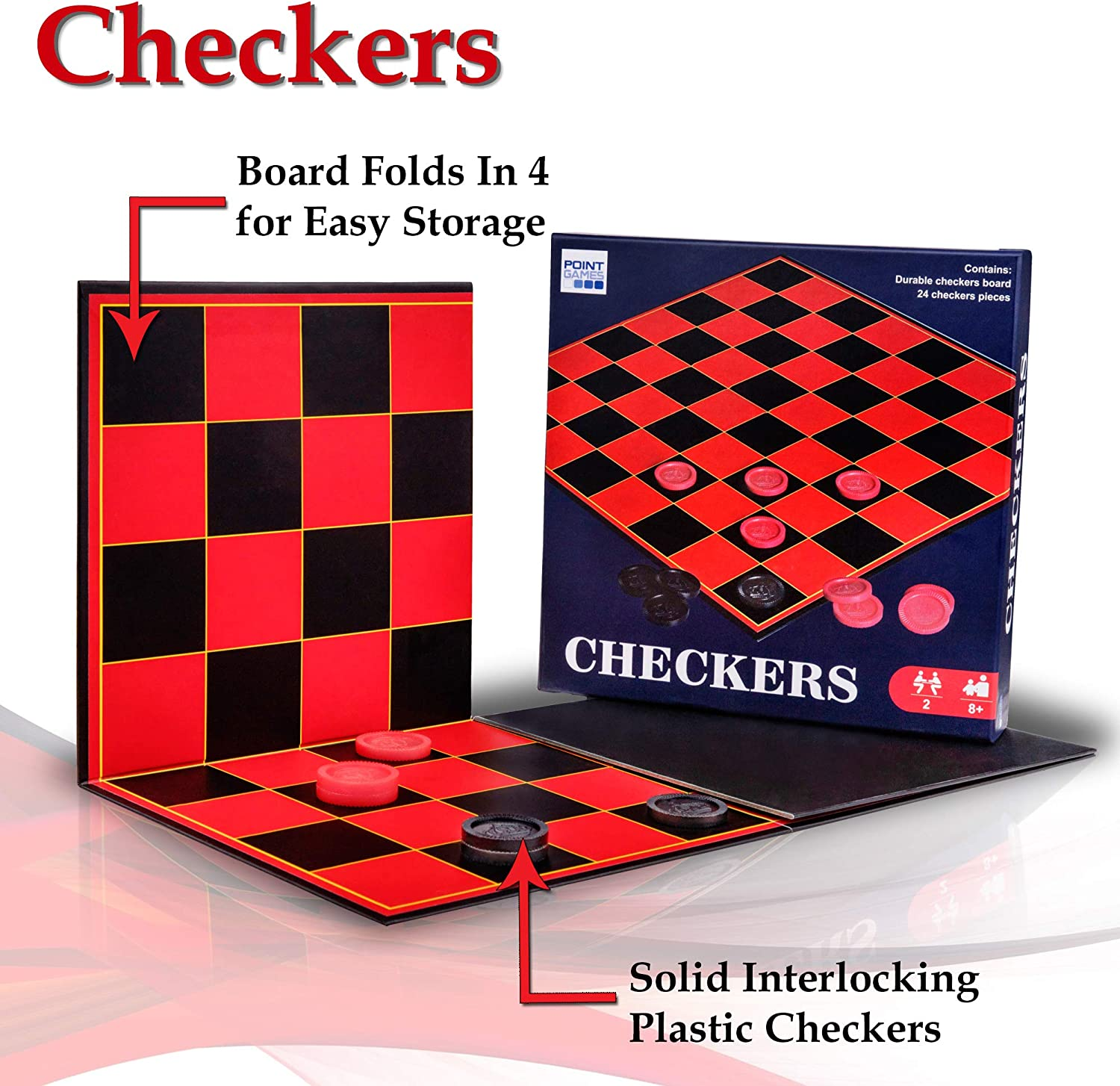 Amazon Com Point Games Checkers Board Stackable Grooves To Secure The King Fun Game For All Ages Toys Games