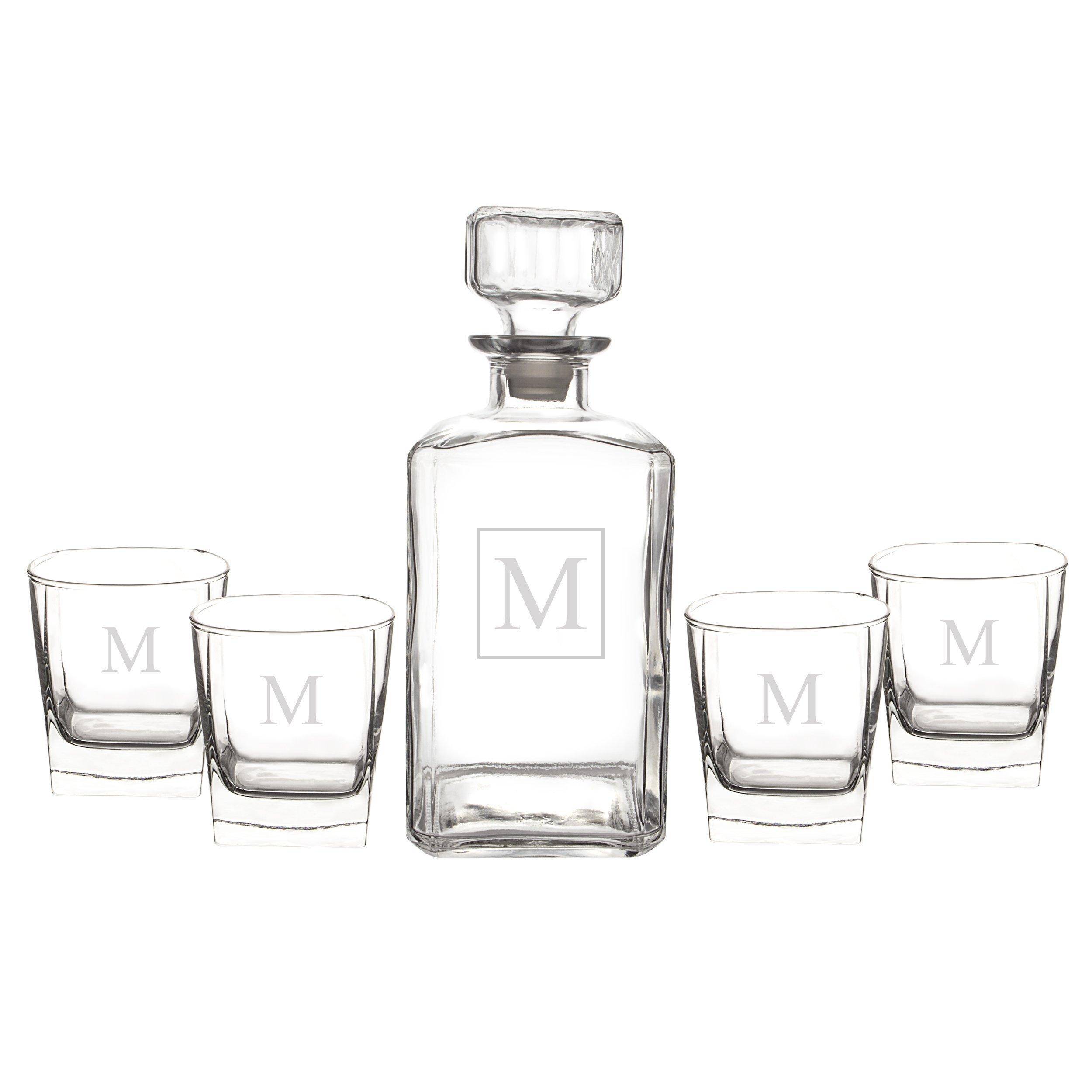 Cathy's Concepts Personalized Liquor Decanter & Glasses Set, Letter M
