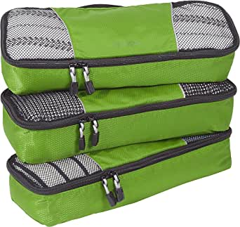 eBags Slim Classic Packing Cubes for Travel - Organizers - 3pc Set - (Grasshopper)