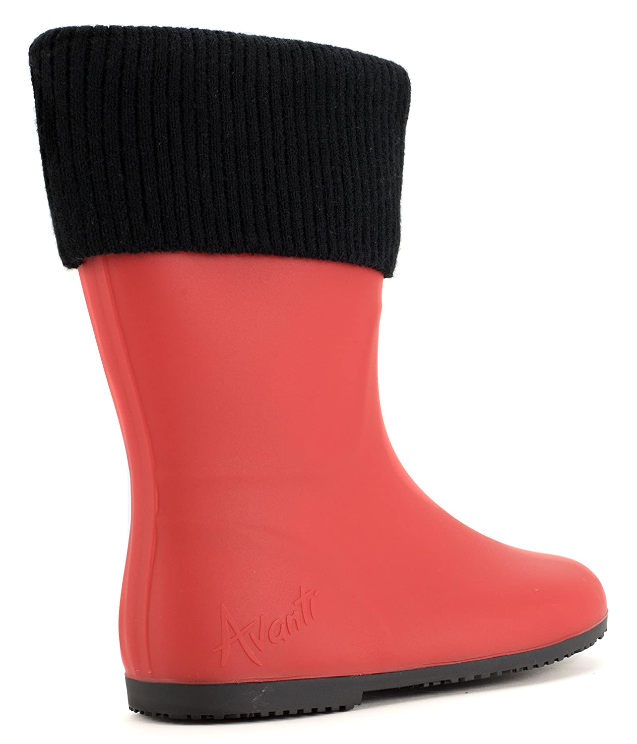 Avanti With Storm Rain Boot Waterproof With Avanti Removable Knitted Cuff Monogram-Able Foldable B078SYN244 7 B(M) US|Red and Black ab3220