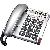 Audioline BigTel 48, Großtastentelefon mit augenfreundlichem Display, silber