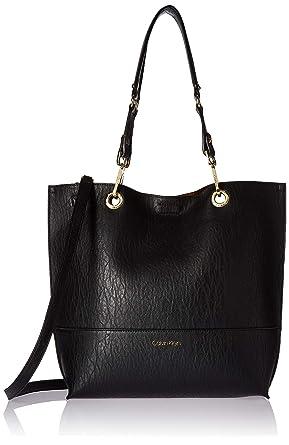 f47b01802f0 Amazon.com: Calvin Klein Sonoma Bubble Lamb Reversible North/South Tote,  Black: Clothing