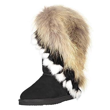 OOG by H4F Damen echt Leder Boots Stiefel Fellstiefel mit Pelz Fell Fox  (Farbe  e2b9454449