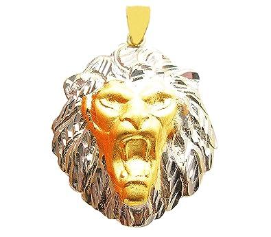 Amazon.com  US-Shopsmart 10K Two Tone Gold Lion Head Pendant Charm ... f0fa3c5c1b