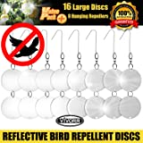Bird Repellent Discs, Reflective Repeller Hanging Device To Keep Birds Away Like Woodpeckers, Pigeons, Ducks, Herons, Grackles, Geese & Other Pest Birds. Protect Property & Crops From Damage & Mess