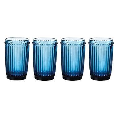 Mikasa Italian Countryside Highball Glass, Blue, 12-Ounce, Set of 4