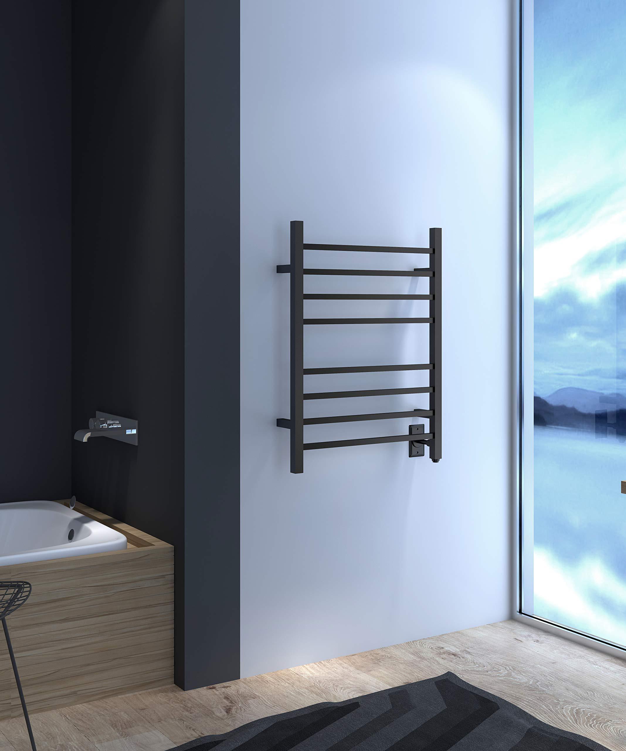 HEATGENE Hot Towel Warmer for Bath Heated Drying Rack 8 Square Bar Matte Black by HEATGENE (Image #6)