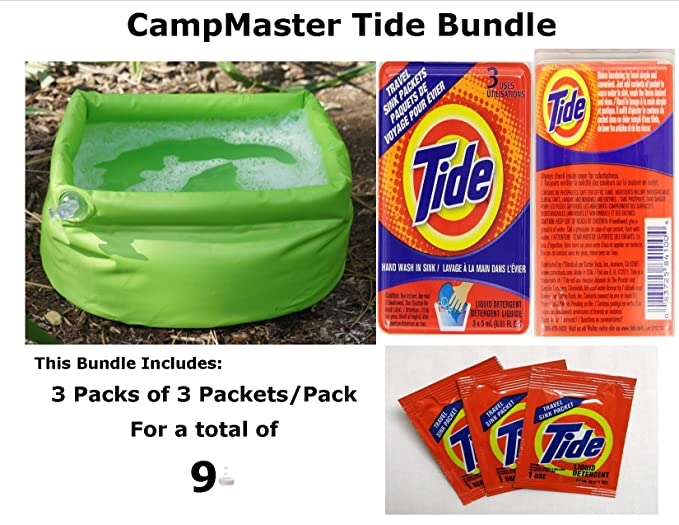 Amazon.com : CampMaster Inflatable Sink Pak 3 Tide Single Load Laundry Packs, Bathe & Laundry : Sports & Outdoors