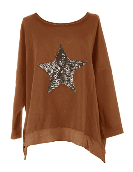 b8d56ffbe5b TEXTURE Ladies Women Italian Lagenlook Sequin Star Long Sleeve Cotton Baggy Top  Blouse Sweatshirt One Size Plus (One Size, Burnt Orange): Amazon.co.uk: ...