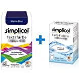 Simplicol expert fabric dye + Colour Fixer for washing machine or manual colouring: Tie Dye, Recolour or Restore Clothes - Navy Blue