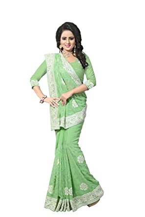 Indian Designer Ethnic Bollywood Traditional Green Georgette Party Wear Saree Sari