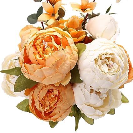 Amazon uworld fake artificial flowers vintage silk peony uworld fake artificial flowers vintage silk peony flowers bouquet for home wedding centerpieces dcor and diy mightylinksfo